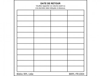 Self-Adhesive Date de retour (Date Due) Slips