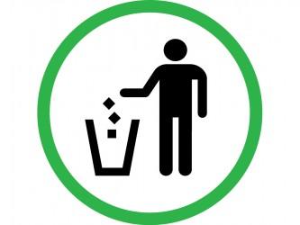 Pictogramme en vinyle autocollant - Jetez les déchets à la poubelle
