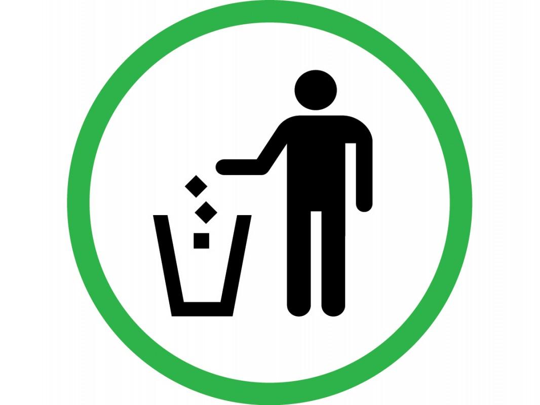 Self-Adhesive Vinyl Sign - Throw Trash in Trash Can