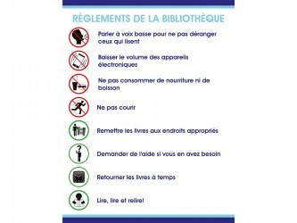 """Self-Adhesive Vinyl """"Règlements de la bibliothèque"""" Sign"""