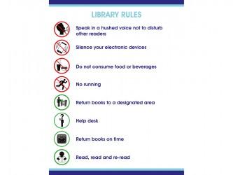 """Affiche """"Library Rules"""" en vinyle autocollant"""