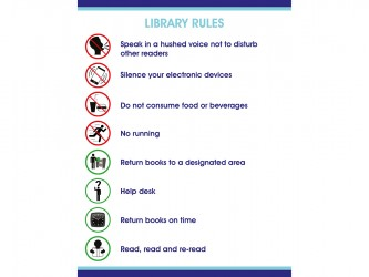 Self-Adhesive Vinyl Library Rules Sign