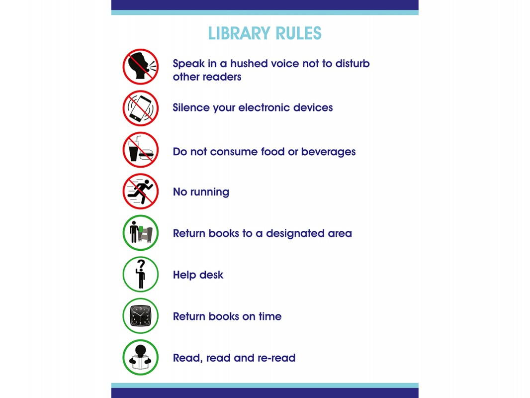Self Adhesive Vinyl Library Rules Sign Biblio Rpl Lt 233 E