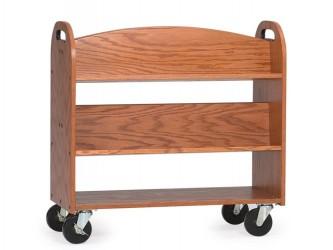 Chariot en bois à 4 tablettes inclinées et 1 tablette plate MAR-LINE