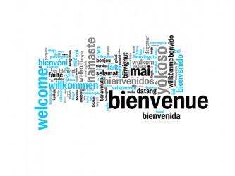 Affiche en vinyle autocollant - Bievenue multilingue