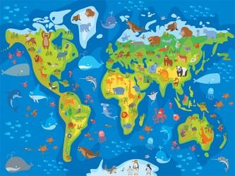 Affiche en vinyle autocollant - Le monde des animaux
