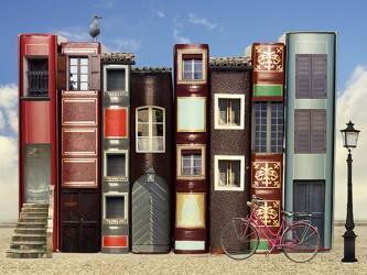 Affiche en vinyle autocollant - Vivre dans les livres