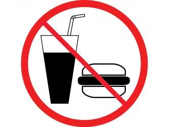 Pictogramme en vinyle autocollant - Interdiction de manger ou de boire
