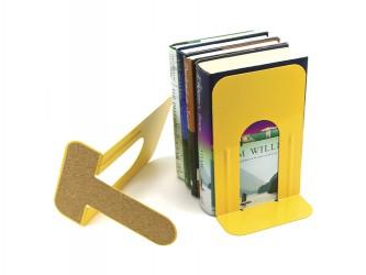 Appui-livres en métal avec base en liège