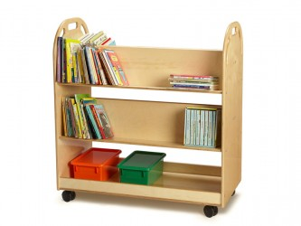 Jonti-Craft Book Truck with 4 sloped shelves and 1 tray