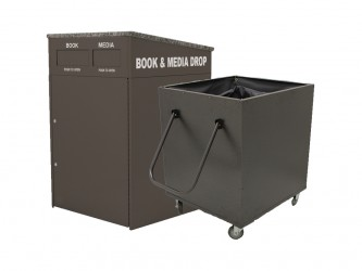 American Book Returns M910 Interior Double Drop Book Return with cart