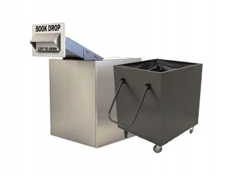American Book Returns M910-TW Through Wall Book Drop with cart