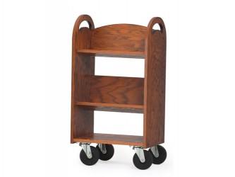 Mini-chariot en bois à 2 tablettes inclinées et 1 tablette plate MAR-LINE