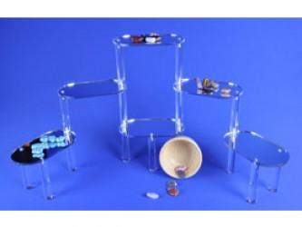 Présentoir en acrylique à plate-formes ovales réfléchissantes