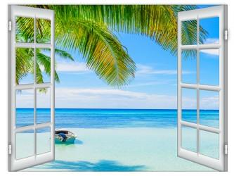 Affiche en vinyle autocollant - La fenêtre du paradis