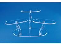 Présentoir en acrylique à plate-formes ovales ajustables