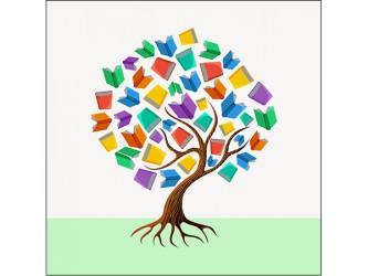Affiche en vinyle autocollant - L'arbre de livres