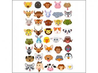 Affiche en vinyle autocollant - Faces d'animaux