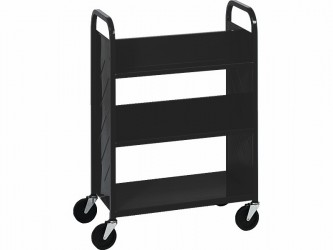 Demco Library Quiet Booktruck with 4 sloped shelves and 1 flat shelf