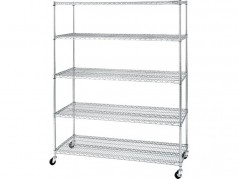 Seville Classics UltraZinc Mobile Steel Wire Shelving - 5-Tier