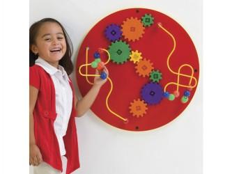 Jeu mural circulaire câbles, billes et engrenages de Playscapes